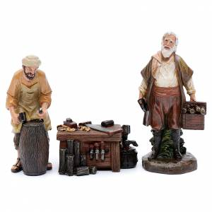 Figuras del Belén: Carpinteros y mostrador resina belén 20 cm set 3 piezas