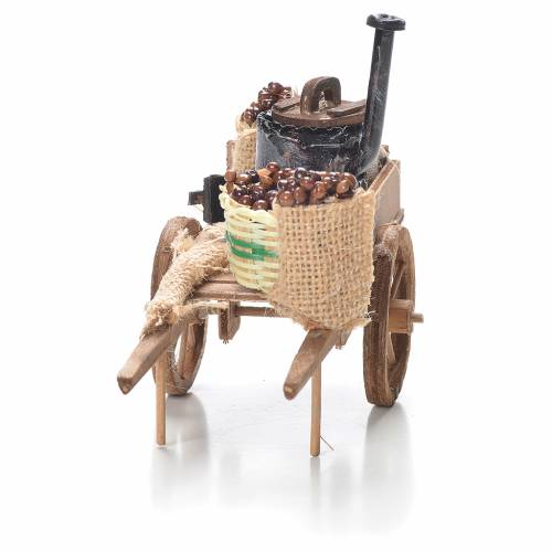 Cart with chestnuts, Neapolitan Nativity 10x18x8cm s4