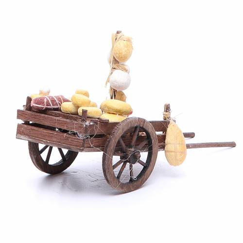 Cart with fruit for Neapolitan Nativity, measuring 9x15x6cm s3