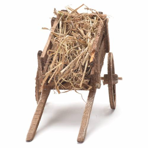 Cart with hay, Neapolitan Nativity 12x20x8cm s4