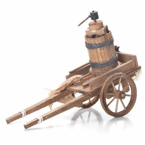 Cart with pressing machine, Neapolitan Nativity 10x18x8cm s1