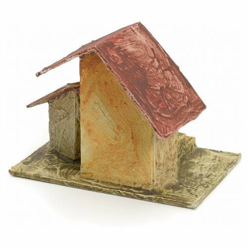 Casa con scaletta legno stuccato per presepe 11x10x7 s3