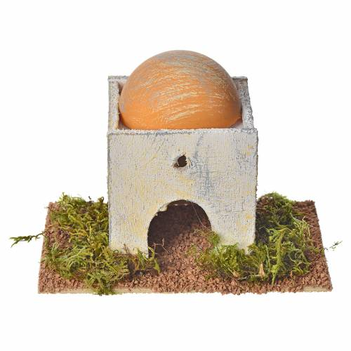 Casetta araba con cupola in legno per presepe 8x14x9 cm s3