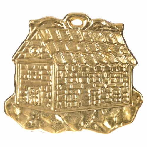 Casetta ex voto metallo dorato 8.5x10 cm s1