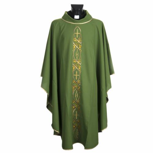 Casula liturgica con ricamo IHS s1