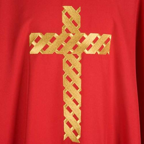 Casula liturgica ricamo croce dorata s5