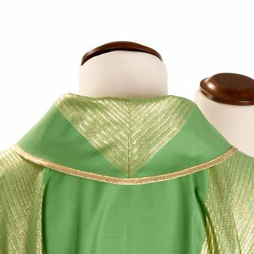 Casula liturgica strisce dorate pura lana s3