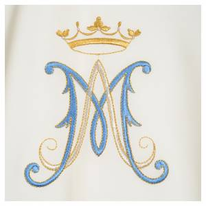 Casula mariana sacerdotale poliestere ricamo blu oro s6