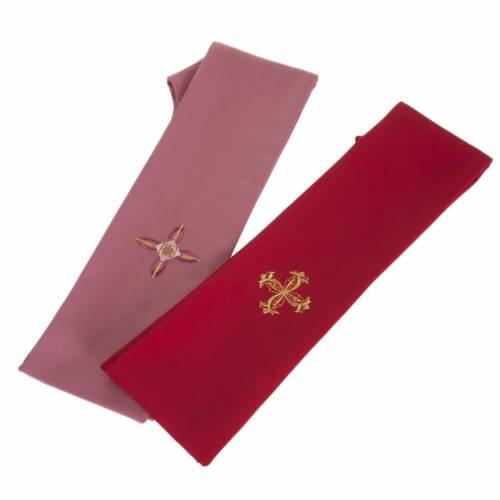 Casula religiosa con stola rosso e rosa lana s7