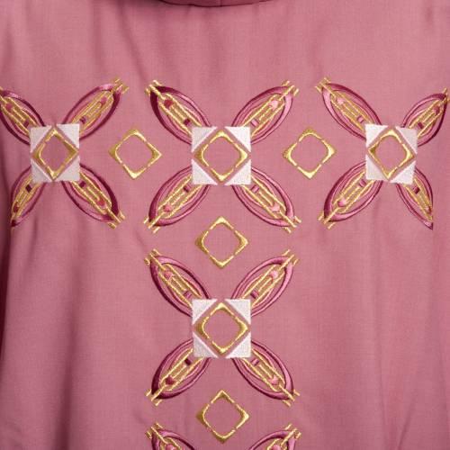 Casula religiosa con stola rosso e rosa lana s5