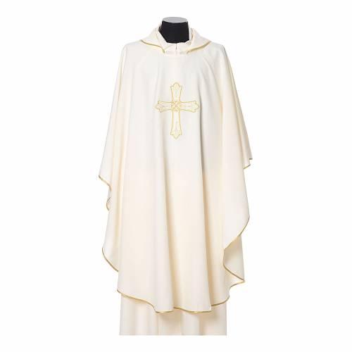 Casula ricamo croce fiore davanti dietro tessuto Vatican 100% poliestere s5