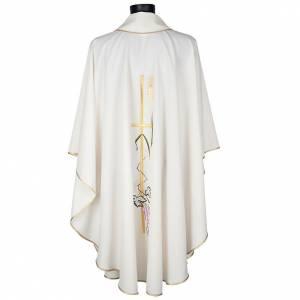 Casula sacerdotale croce lunga dorata uva poliestere s4