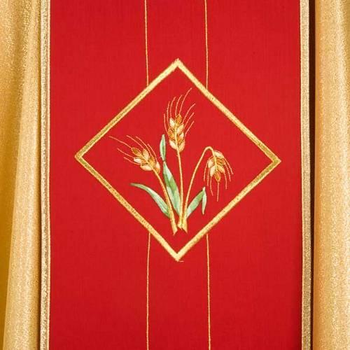 Casula sacerdotale oro stolone rosso ostia spighe uva s4