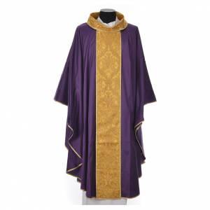 Casula sacerdotale seta 100% ricamo dorato s5