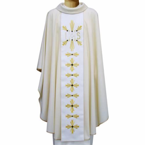Casulla 100% pura lana virgen cruces IHS bordadas s1