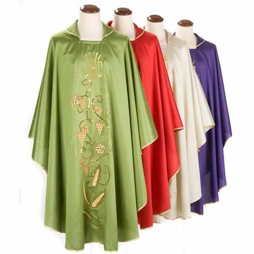 Casulla litúrgica shantung bordado dorado vid, uva, IHS s1