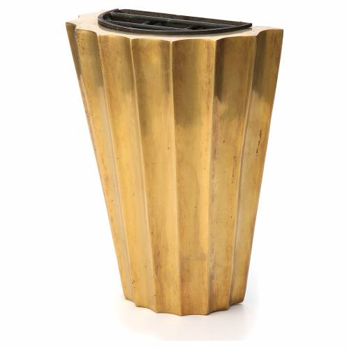 Cemetery vase bronzed plissé brass with basin s2