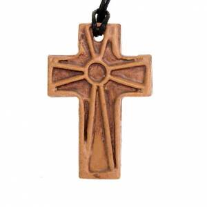 Ceramic cross pendant decorated s3