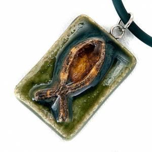 Ceramic pendant, square with fish s3