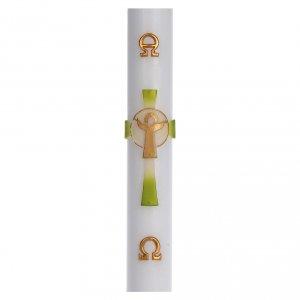 Candele, ceri, ceretti: Cero pasquale cera bianca Croce Risorto verde 8x120 cm