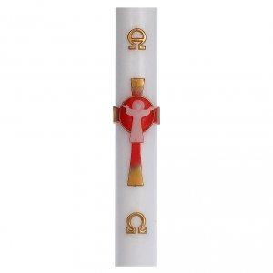 Candele, ceri, ceretti: Cero pasquale cera bianca RINFORZO Croce Risorto rosso 8x120 cm