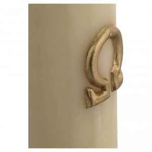 Cero pasquale cera d'api agnello argento croce 8x120 cm s6