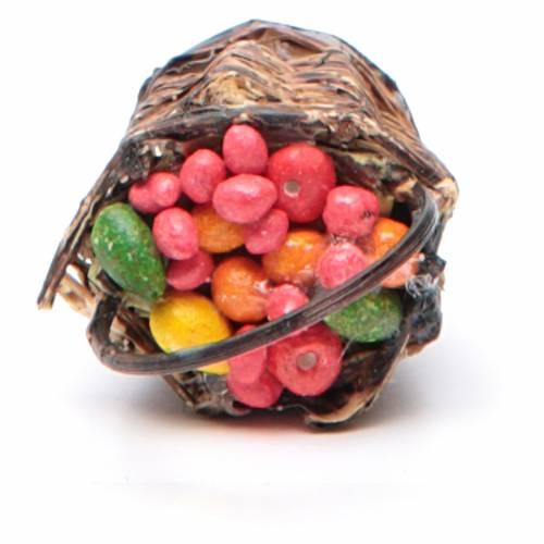 Cesto di frutta con manico presepe napoletano 4x13x6 s4