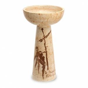 Ceramics Chalices Ciborium and Patens: Chalice in beige ceramic, half spheric