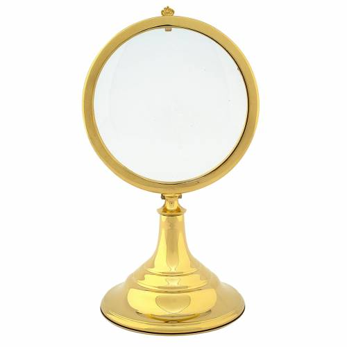 Chapel Monstrance, magna host in gold-plated brass 28 cm s1