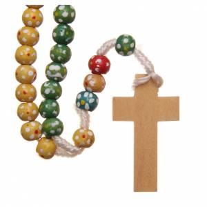 Chapelets en bois: Chapelet bois missionnaire fleurs