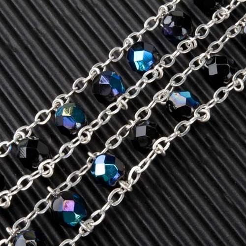 Chapelet cristal, chaîne double, noir s5