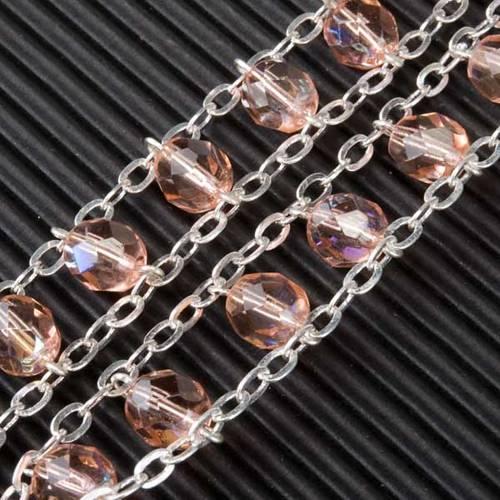 Chapelet cristal, chaîne double, rose s5