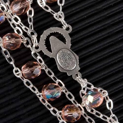 Chapelet cristal, chaîne double, rose s3
