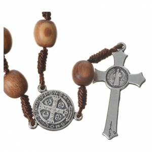 Bracelets, dizainiers: Chapelet dizainier Medjugorje bois d'olivier croix métal