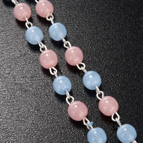 Chapelet Ghirelli verre de bohême rose bleu ciel 6mm s4