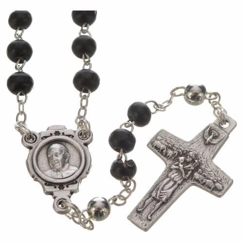 Chapelet noir et croix Pape François s2