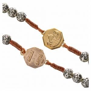 Chapelets en métal: Chapelet Pape François grains en forme de rose sur corde