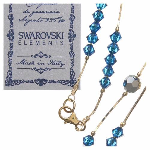 Chapelet Swarovski et argent 925 doré 4 mm bleu Capri s3