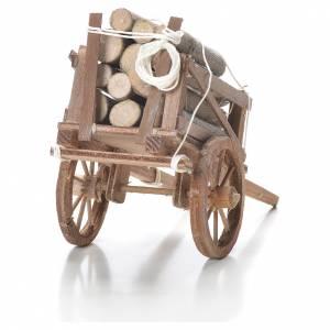 Charrette avec bois crèche napolitaine 10x18x8 cm s3