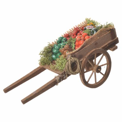 Charrette chargée de fruits crèche napolitaine 18x6 cm s1