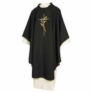Chasubles: Chasuble 100% polyester broderie croix épis couronne épines noir