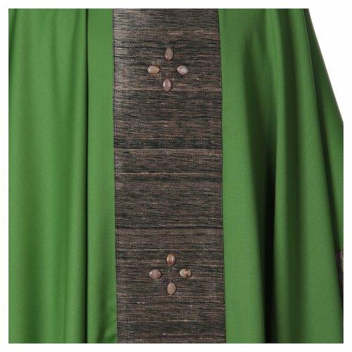 Chasuble en laine avec bandes appliquées en soie et 16 agates s5