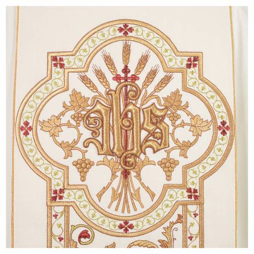Chasuble in 100% wool, IHS, ears of wheat embroidery s7