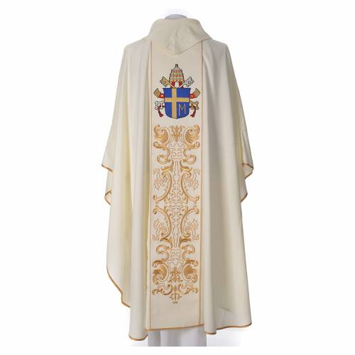 Chasuble in 80% polyester 20% wool, John Paul II s2