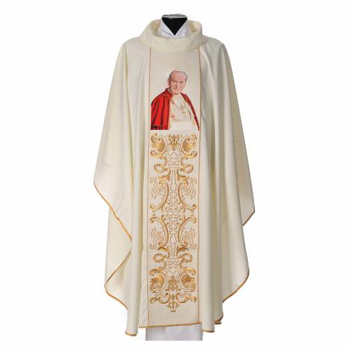 Chasuble in 80% polyester 20% wool, John Paul II s1