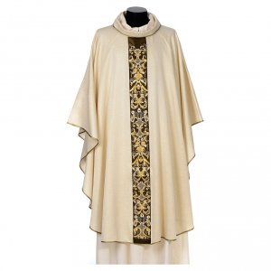 Chasubles: Chasuble in faille with dark gallon machine embroidery