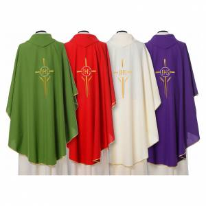 Chasuble in polyester with JHS, cross and wheat embroidery s2