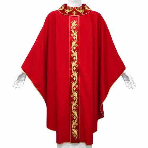 Chasuble in pure wool with floral embroidery on galloon s1