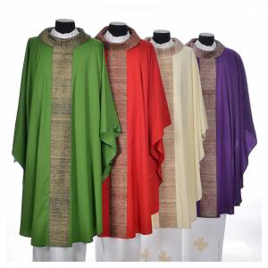 Chasubles: Chasuble in pure wool with orphrey in pure silk