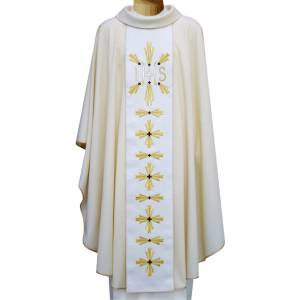Chasuble in wool with double twisted yarn and JHS embroidery s1